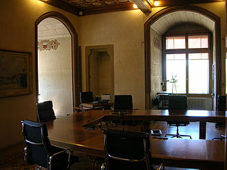 Council of State of Vaud - The meeting room of the Council of State in the Château Saint-Maire in Lausanne.