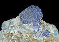 Lazurite, afghanite et pyrite sur calcite (Sar-e-Sang, Koksha Valley, Badakshan - Afghanistan) 1.jpg