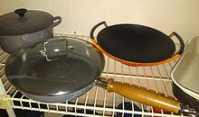 From Left Le Creuset French Oven Saute Pan Small Wok And Rectangular Baker