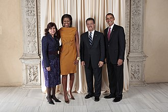 Leonel Fernández - Barack and Michelle Obama during a reception at the Metropolitan Museum in New York with Fernández and Margarita Cedeño de Fernández