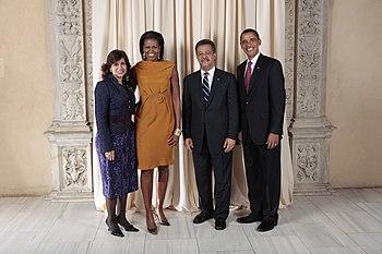 Leonel Fernandez Reyna with Obamas