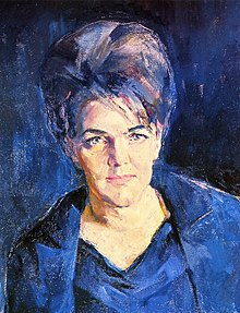 1=Heinz Anger, oil on canvas: Portrait of opera singer Leonie Rysanek. Partial reproduction. Published in book DER MALER HEINZ ANGER, Vienna 1992, page 157