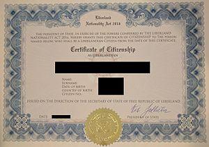 Liberland - Liberland Citizenship Certificate