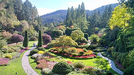 Just north of the city limits is Butchart Gardens, a botanical garden and National Historic Site. Lieu historique national du Canada des Jardins-Butchart 2012-09-15 18-27-50.jpg