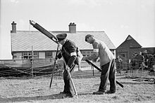 Lifesaving Apparatus Drill. 1940, at An East Coast Coastguard Station. Every Coastguard Station Is Fitted With Lifesaving Apparatus Which Is Fitted With Rockets and Breeches Buoy Equipment and Manned by Local Volunteers, A1640.jpg