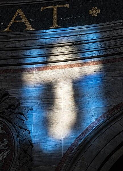 File:Light through a stained glass window, cross, wall of the Marmor (Frederiks) Kirke Copenhagen Denmark.jpg