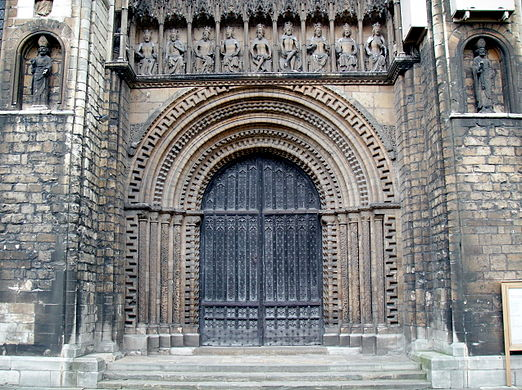 The Mouldings Of Arched Central West Door Lincoln Cathedral Are Decorated By Chevrons And