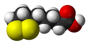 Space-filling model of the lipoic acid molecule