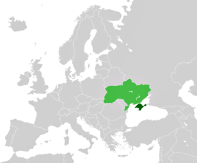 Location of Crimea (dark green) with respect to Ukraine (light green) on a map of Europe.