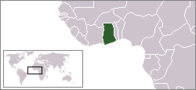 A map showing the location of Ghana