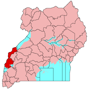 Rwenzururu - Image: Location of Rwenzururu in Uganda (map)