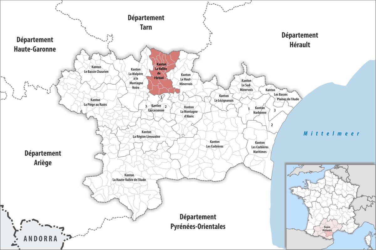 Kanton la vall e de l orbiel wikipedia - Bureau vallee carcassonne ...