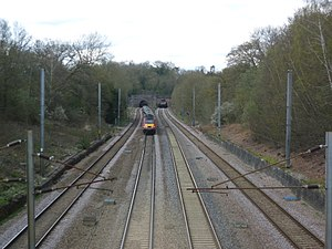Looking north towards Hadley Wood tunnel from the railway bridge near Bakers Hill on the London Loop.JPG