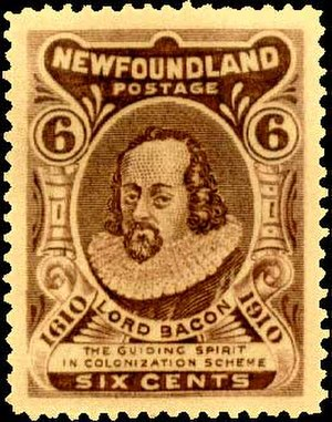 "New Atlantis - A Newfoundland stamp which reads ""Lord Bacon – the guiding spirit in colonization scheme"""