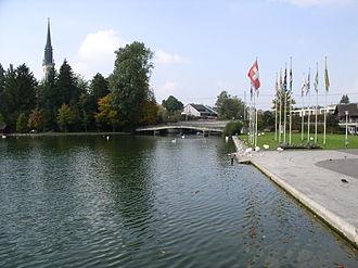 Cham, Switzerland - Image: Lorze Abfluss Zugersee Cham