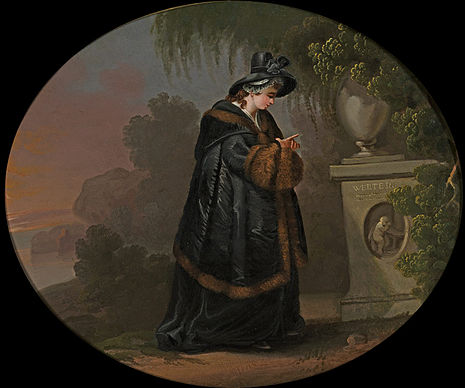 "In Goethe's The Sorrows of Young Werther, the title character kills himself due to a love triangle involving Charlotte (pictured at his grave). Some admirers of the story were triggered into copycat suicide, known as the ""Werther effect"" Lotte an Werthers Grabmal.jpg"