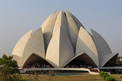The Lotus Temple, a Baha'i House of Worship in New Delhi, India. It attracts an average of 4 million visitors a year. Lotus Temple in New Delhi 03-2016.jpg