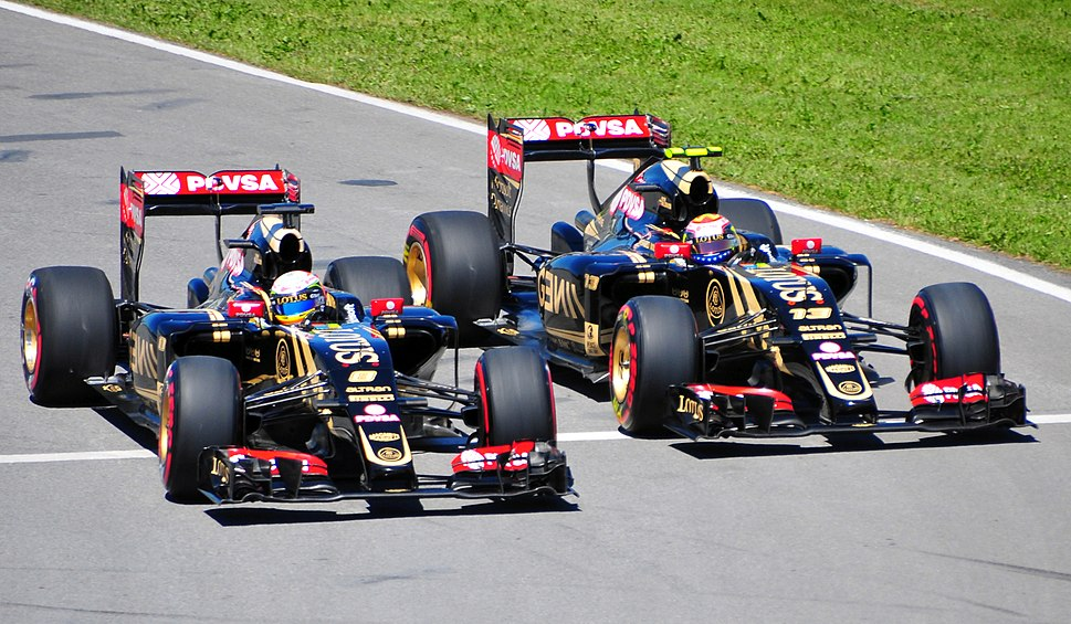 Lotus duo in pit exit