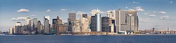A panorama of Lower Manhattan as viewed from t...