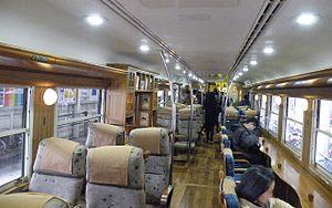 Ibusuki no Tamatebako - Interior view of KiHa 47-8060 (car 1), March 2011