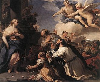 Cupid and Psyche - Psyche Honoured by the People (1692–1702) from a series of 12 scenes from the story by Luca Giordano