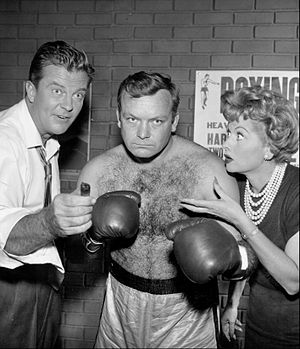 "William Lundigan - In an episode of Desilu Playhouse, ""K.O. Kitty"", L-R: William Lundigan, Aldo Ray, and Lucille Ball  (1958)."