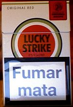 A warning message on a Portuguese pack of Lucky Strike