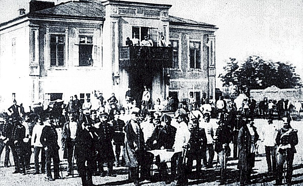 Ludwig Angerer - Coronini and his troops in front of the Meitani House.jpeg