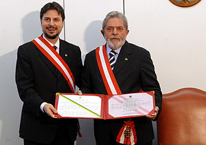 Orders, decorations, and medals of Brazil - President Lula de Silva, with the order of Merit.