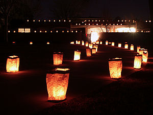 Luminaria - A typical luminaria display in Albuquerque, New Mexico