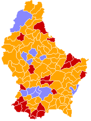 Luxembourg general election, 1994 - Image: Luxembourg legislative election 1994 communes map