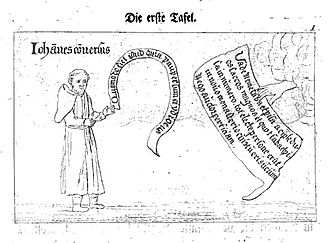 Medingen Abbey - Lay brother Johann receiving the divine order to build a new convent, reproduced by Johann Ludolf Lyssmann, 1772 (original art work produced in 1499)
