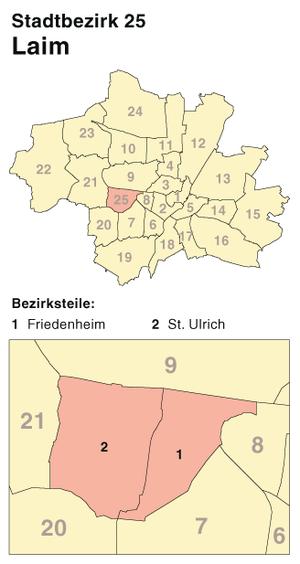 Laim - Borough 25 - Laim: Location in Munich