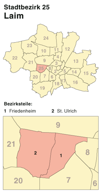 Laim - Borough 25 - Laim: Location in Munich