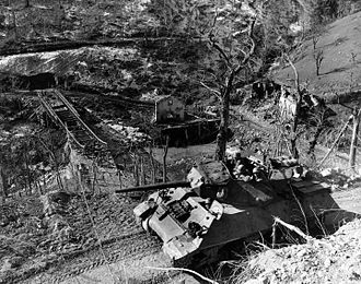 Tank destroyer battalion (United States) - A M10 of the 701st TD Btn advancing along a mountain road, in an example of the broken terrain common in Italy