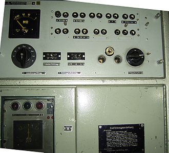 "Degaussing - Control panel of the MES-device (""Magnetischer Eigenschutz"" German: magnetic self-protection) in a German submarine"