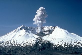 Mount St. Helens - 3,000 ft (1 km) high steam plume on May 19, 1982, two years after its major eruption
