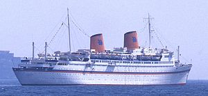 MS Kungsholm (1952) - Hapag-Lloyd Europa at Taormina, Italy.