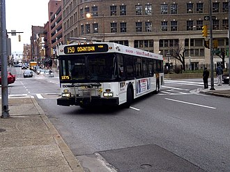 Route 150 (MTA Maryland) - Route 150 bus turning onto Baltimore Street
