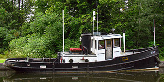 Tay Canal - Tugboat Tay, owned by Parks Canada, at Upper Beveridges Lock, Tay Canal