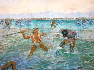 Lapu-Lapu - A depiction of the Battle of Mactan in the Magellan shrine