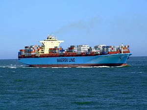 Maersk Sofia p03 approaching Port of Rotterdam, Holland 04-Aug-2007.jpg