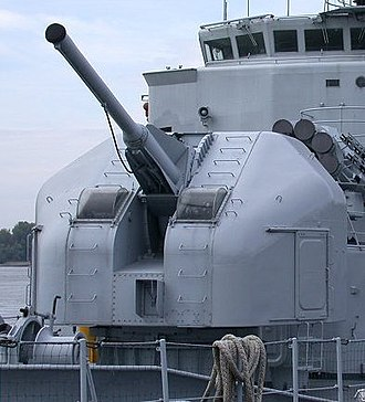 Gun turret - A modern gun turret (A French 100 mm naval gun on the Maillé-Brézé pictured) allows firing of the cannons via remote control. Loading of ammunition is also often done by automatic mechanisms.