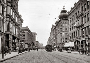 History of Springfield, Massachusetts - Main Street in The City of Progress, circa 1910.