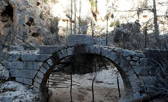 Taşgeçit Bridge - Main arch of Taşgeçit Roman Bridge Mersin Province, Turkey from south west