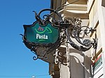 Main post office, stagecoach shaped sign. - 22 Széchenyi Street, Eger, 2016 Hungary.jpg