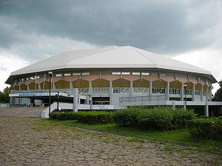 Makomanai Ice Arena building in Minami-ku, Hokkaido Prefecture, Japan
