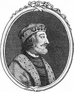 In a black and white engraving in an ovoid frame, a late middle-aged man faces right. He wears a regal tunic over a dark shirt. His bushy, neck-length hair is greying, and he has a grey beard with a black moustache and prominent eyebrows. On his head he wears a slim crown.