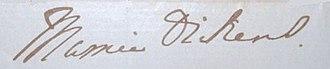 Mary Dickens - Image: Mamie dickens signature