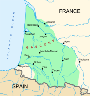 Gascony - A map of Gascony, showing a wide definition of the region. Other maps may define a smaller area as Gascony.